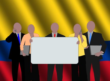colombian: Colombian business team with rippled flag illustration Stock Photo