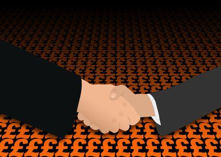 negotiator: business handshake on pound symbols illustration