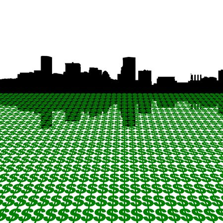 Baltimore skyline with dollars illustration illustration