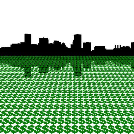 baltimore: Baltimore skyline with dollars illustration