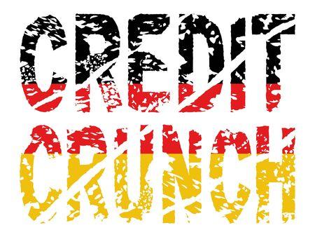 slump: grunge Credit crunch text with German flag illustration