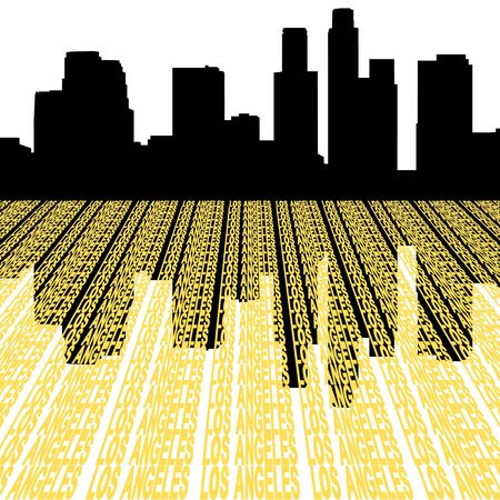 angeles: Los Angeles skyline reflected with text illustration