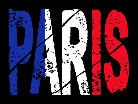 grunge Paris text with French flag illustration illustration