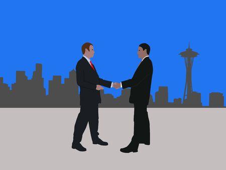 negotiator: business men meeting with handshake and Seattle skyline