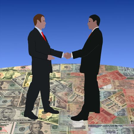 business men meeting on dollars and Indian currency illustration  illustration
