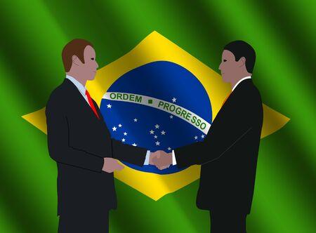 business men shaking hands with Brazilian flag illustration illustration