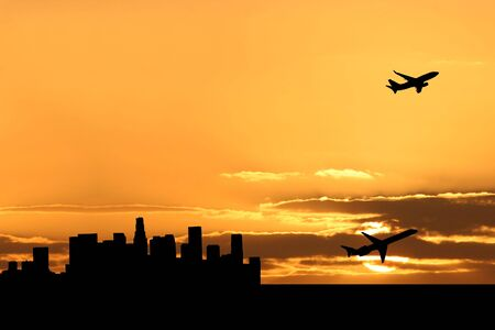 plane departing Los Angeles at sunset illustration illustration