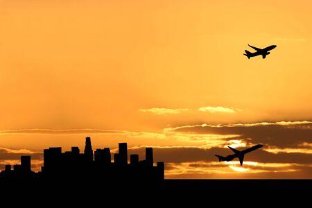 angeles: plane departing Los Angeles at sunset illustration