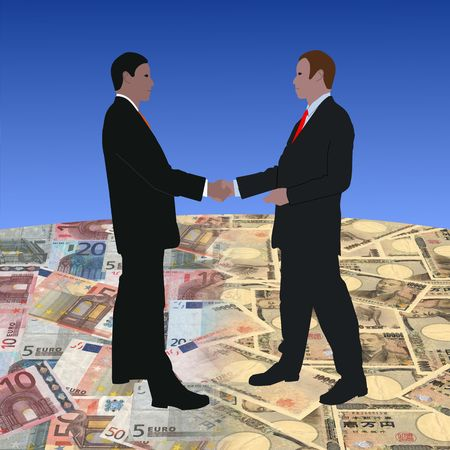 negotiator: business men meeting on euros and Japanese currency illustration Stock Photo