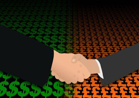 negotiator: business handshake over dollar and pound symbols illustration
