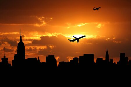 departing: planes departing Midtown manhattan at sunset illustration