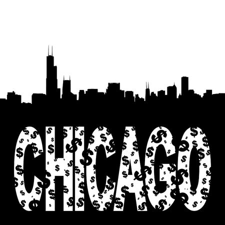 hancock: Chicago skyline with grunge text illustration Stock Photo
