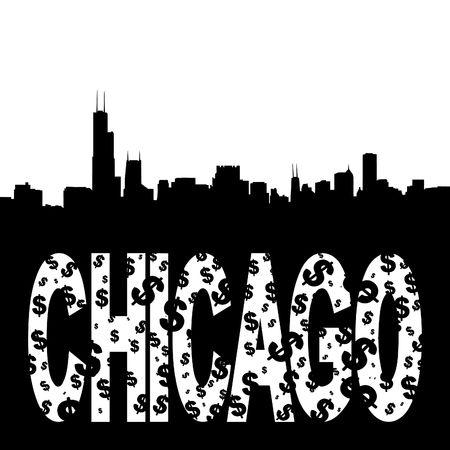 Chicago skyline with grunge text illustration Stock Photo