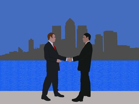 negotiator: business men meeting and London docklands skyline Stock Photo