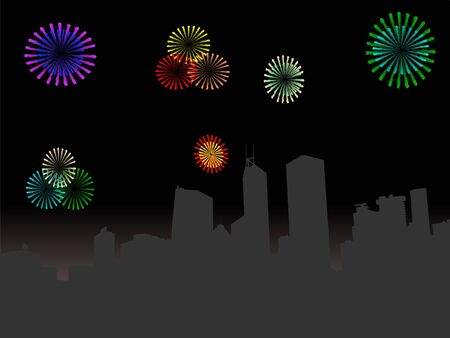 Hong Kong skyline at night with colourful fireworks illustration illustration
