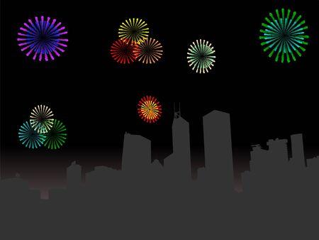 hong kong night: Hong Kong skyline at night with colourful fireworks illustration
