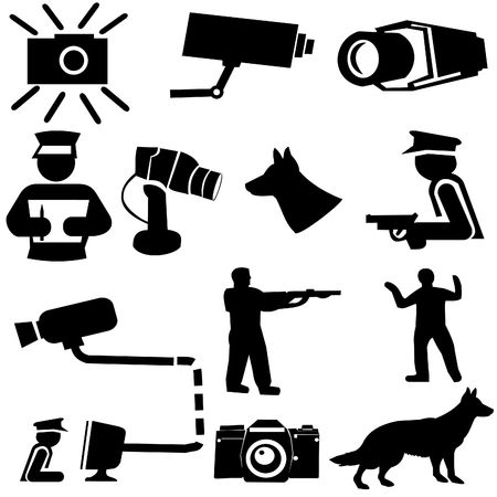 security monitor: security silhouettes guard dogs, cctv camera, and armed guard illustration