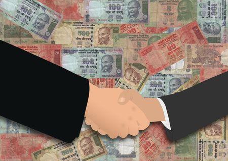 business handshake on Indian currency illustration illustration