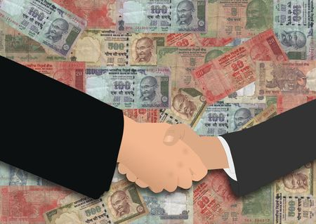 negotiator: business handshake on Indian currency illustration