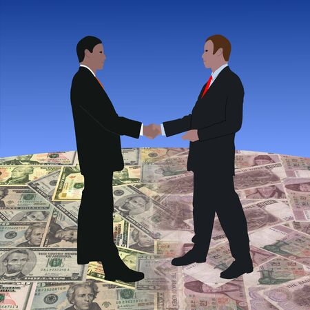 south korean won: business men meeting on dollars and Korean currency illustration  Stock Photo