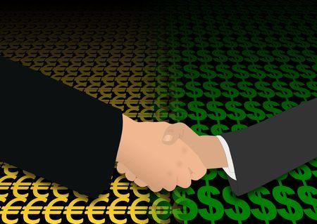 negotiator: business handshake over euro and dollar symbols illustration Stock Photo