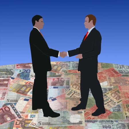 indian money: business men meeting on euros and Indian currency illustration Stock Photo