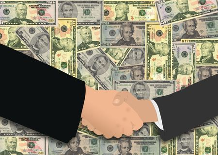 Handshake On American Dollars Stock Photo - 3928174