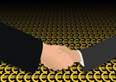 negotiator: business handshake on euro symbols illustration