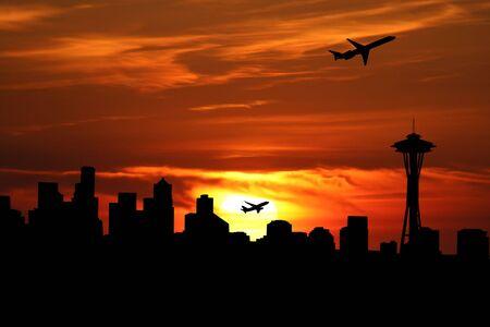 plane taking off at sunrise and Seattle skyline illustration illustration