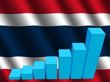 rippled: bar chart and rippled Thai flag illustration