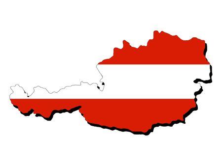 austrian flag: map of Austria and Austrian flag illustration
