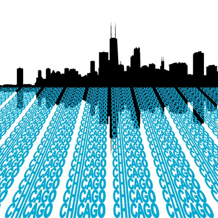 reflected: Chicago Skyline reflected with text illustration