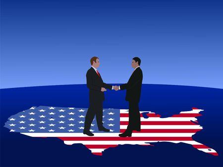 negotiator: American business men meeting with handshake illustration Stock Photo