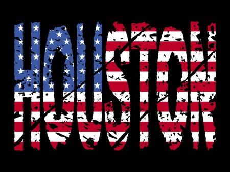 houston flag: grunge Houston text with American flag illustration
