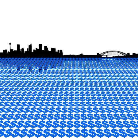 sydney skyline: Sydney skyline with dollar symbols illustration Stock Photo