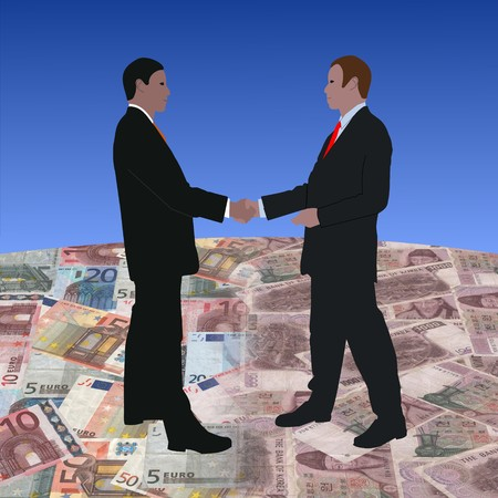 south korean won: business men meeting on euros and Korean currency illustration  Stock Photo