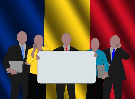 romanian: Romanian business team with rippled flag illustration