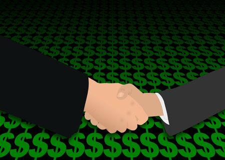negotiator: business handshake on dollar symbols illustration