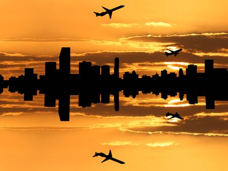 Miami skyline reflected at sunset with departing planes photo