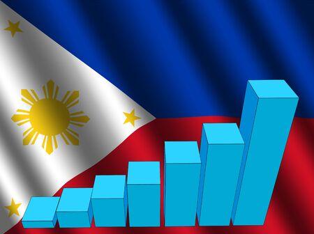 filipino: bar chart and rippled Filipino flag illustration Stock Photo