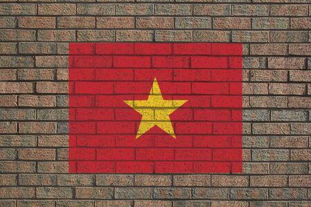 brick and mortar: Vietnamese flag painted on brick wall illustration