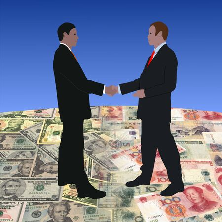 yuan: business men meeting on dollars and Chinese currency illustration