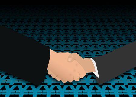 negotiator: business handshake on Yen symbols illustration Stock Photo