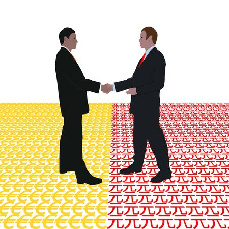 negotiator: business men meeting with euro and Yuan symbol illustration Stock Photo