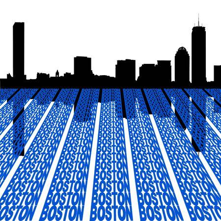 Boston skyline with text perspective foreground illustration Stock Illustration - 3959272