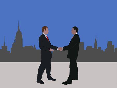 negotiator: business men meeting with handshake and Midtown Manhattan skyline Stock Photo
