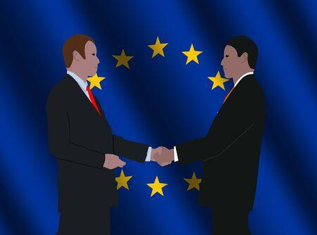 truce: business men shaking hands with rippled EU flag illustration