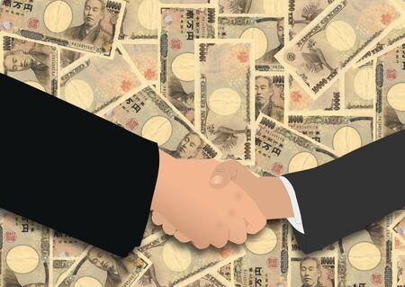 negotiator: business handshake on Japanese Yen illustration