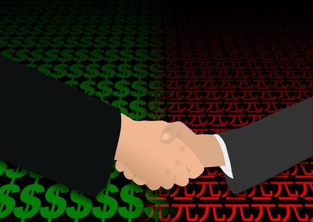 business handshake over dollar and yuan symbols illustration illustration