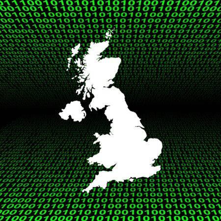 uk map: glowing UK map over green binary code
